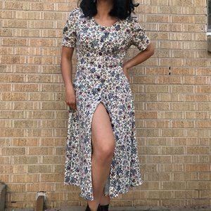 Vintage 80s market dress petite floral romantic M